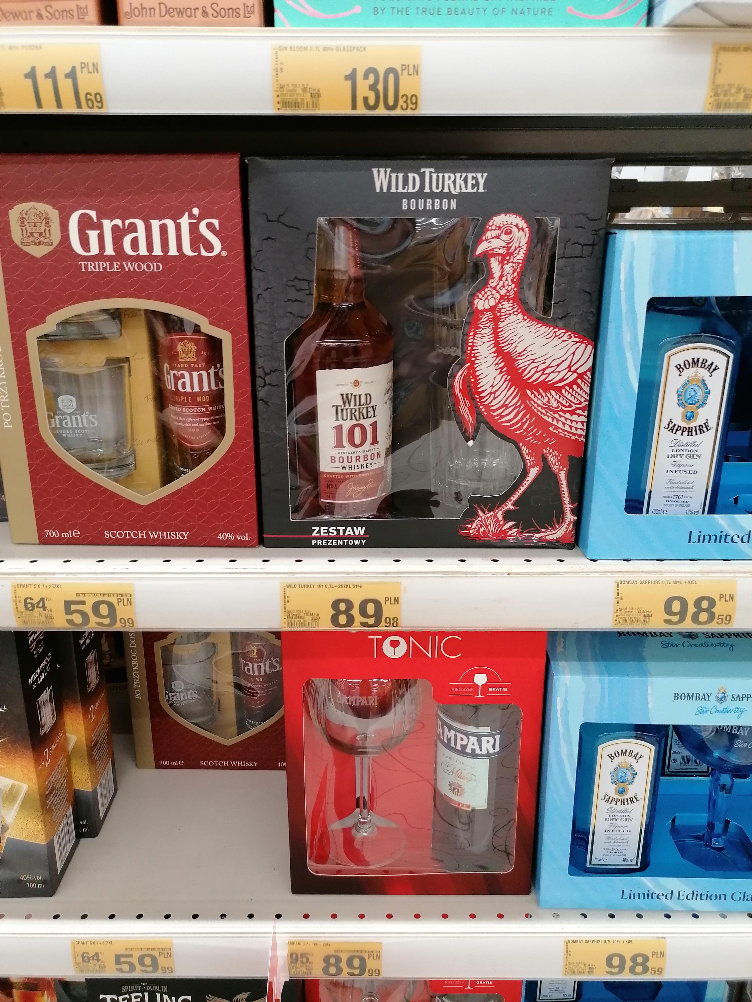 Whisky / Bourbon Wild Turkey 101 (51%) + 2 szklanki - Auchan Kraków Bronowice