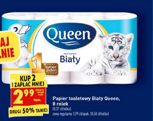 Papier toaletowy Queen Biały 8 rolek 2,99zł przy zakupie 2 - Biedronka
