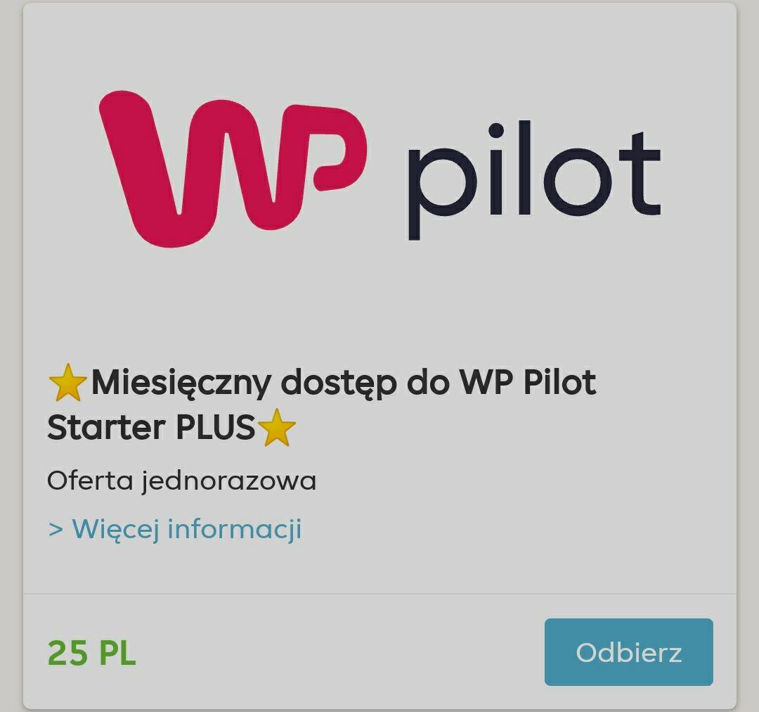 WP Pilot Starter Plus 30 dni za 25pkt Strefa Premium Pyszne.pl