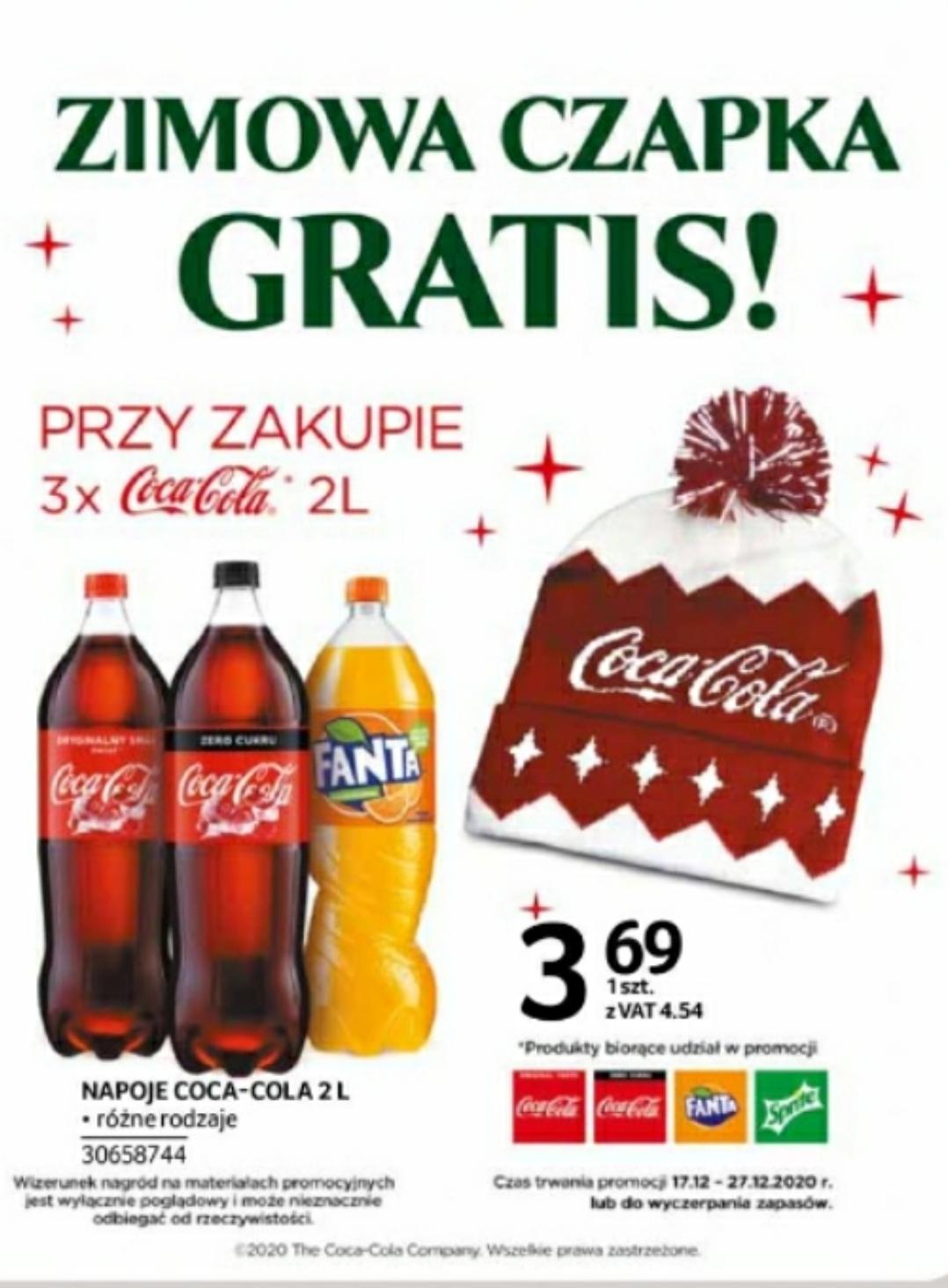 Coca-Cola,Fanta,Sprite 3 x 2l + czapka zimowa Coca-cola gratis w Selgros 17.12-27.12.2020