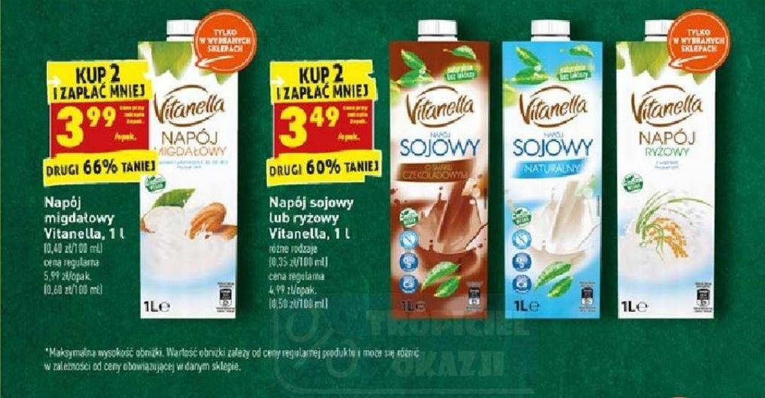 Napój sojowy lub ryżowy Vitanella 1 l za 3,49 zł/szt przy zakupie 2 sztuk w Biedronce