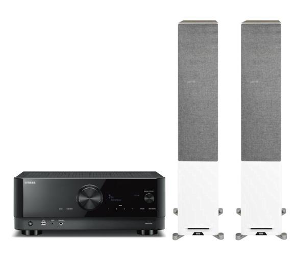 Amplituner Yamaha MusicCast RX-V4A (czarny) + kolumny Elac Debut Reference DFR52 (biały/orzech)