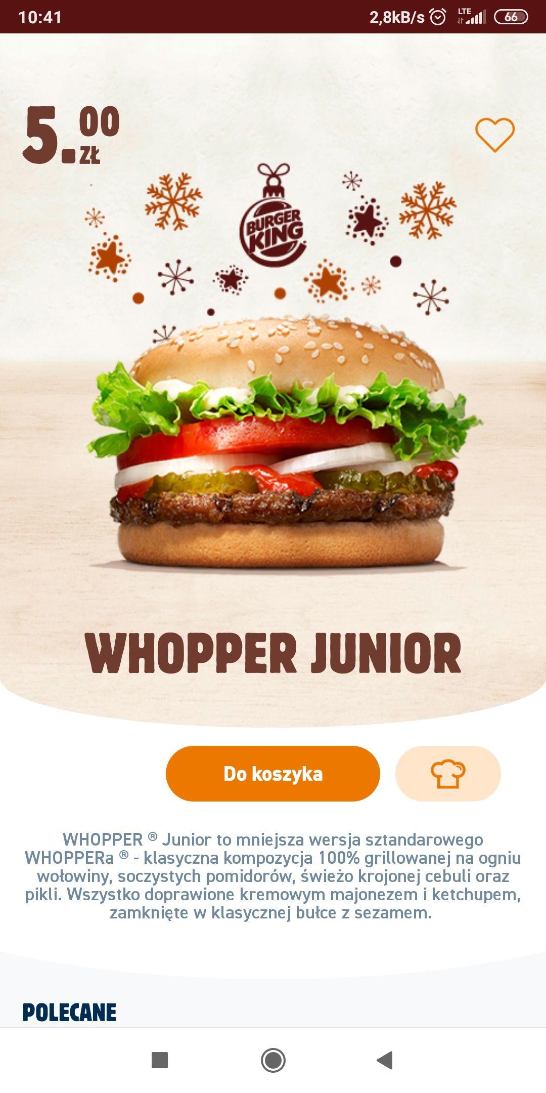 Whopper junior Burger King