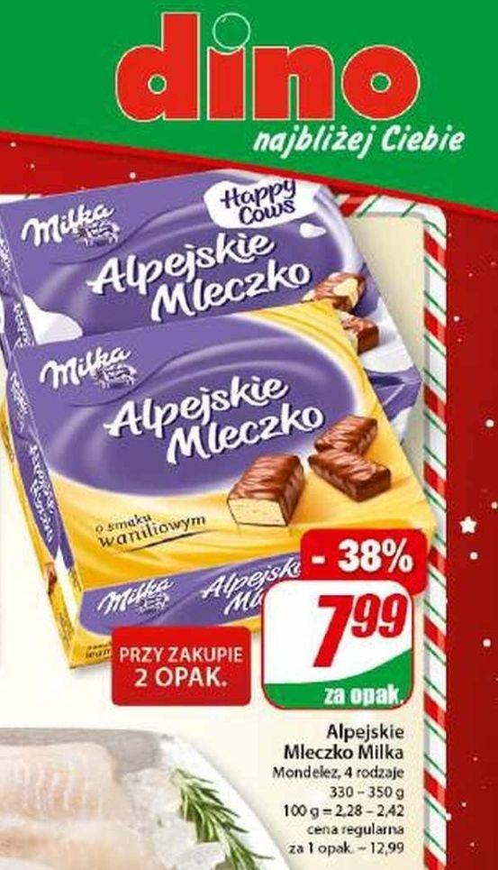 Alpejskie mleczko Milka 330-350 g za 7,99 zł/szt przy zakupie 2 opakowań w Dino