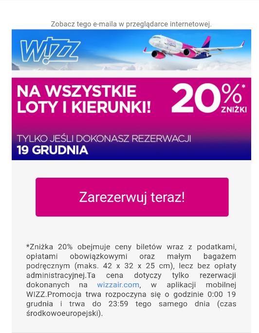 Wizz Air 20% na wszystkie loty i kierunki!