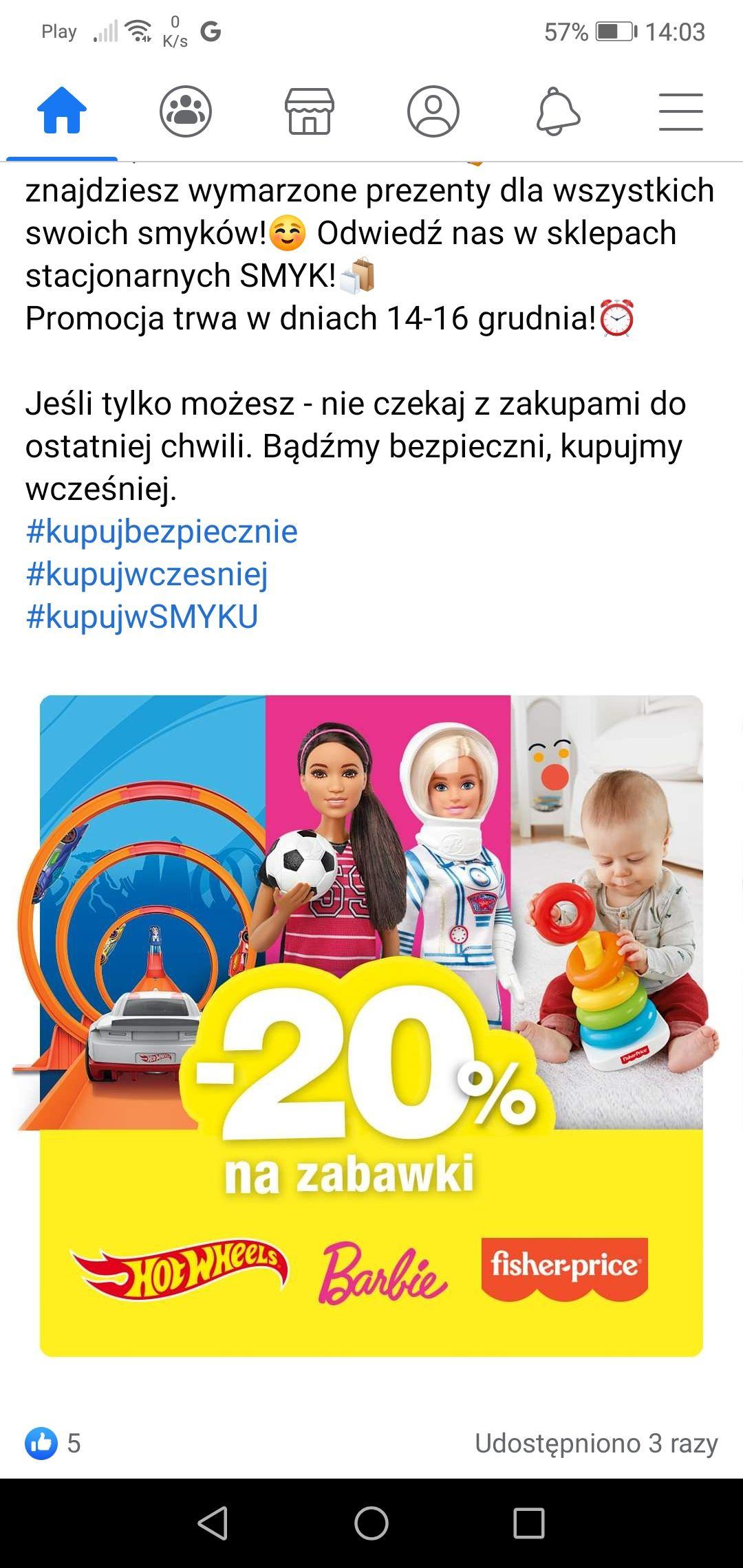 -20% na zabawki Fisher-price, Barbie i Hot wheels