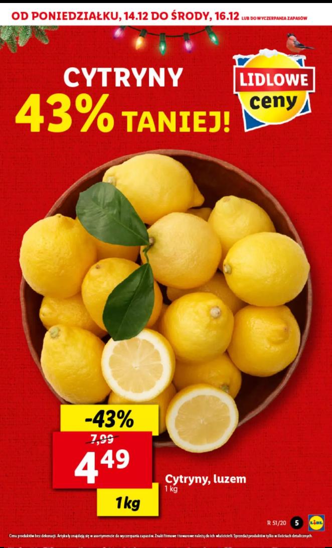 Cytryny 4,49 zł/kg Lidl