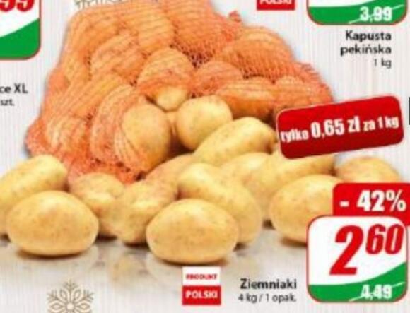 Ziemniaki 4kg (0,65 zł/kg) @Dino