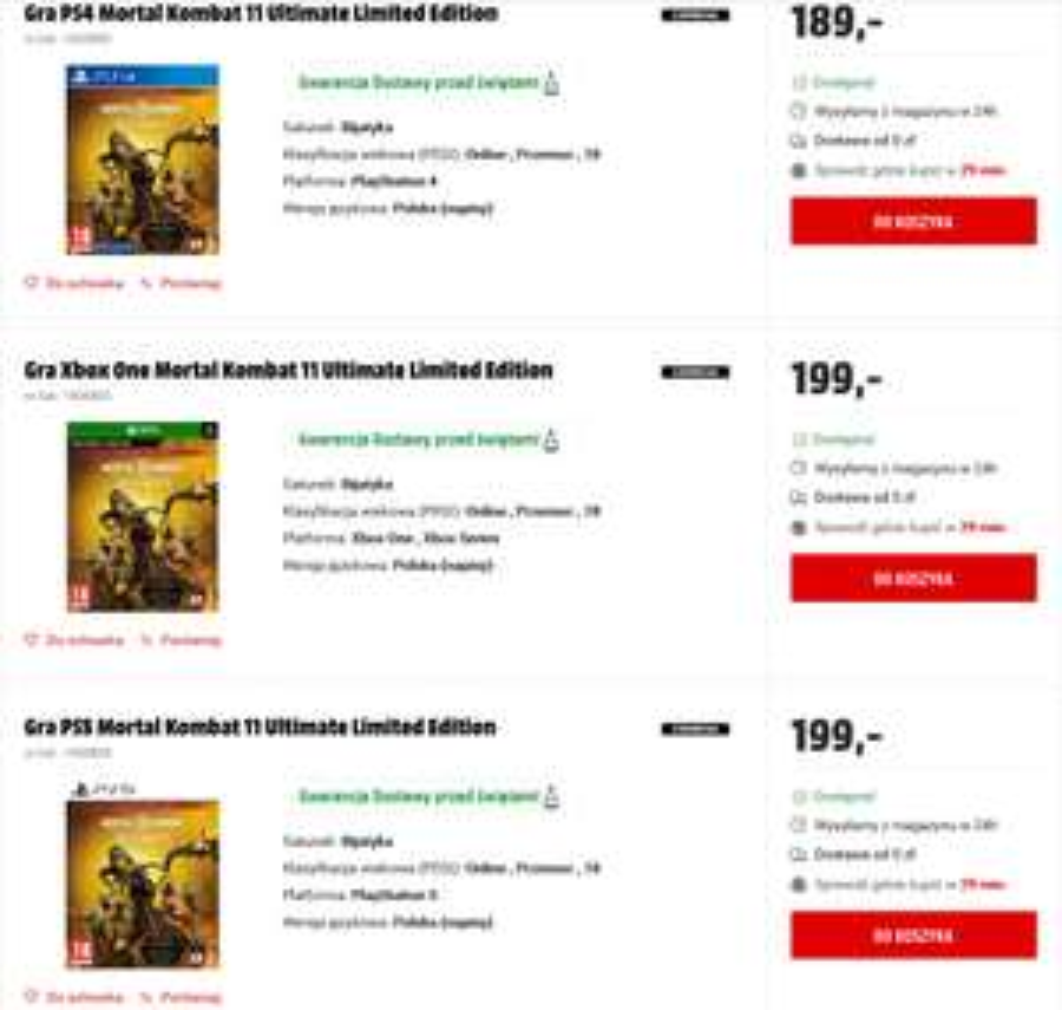 Mortal Kombat 11 Ultimate Limited Edition (ze steelbookiem) taniej niż wersja zwykła! (Xbox One/Series X|S, PS5, PS4) @ Media Markt