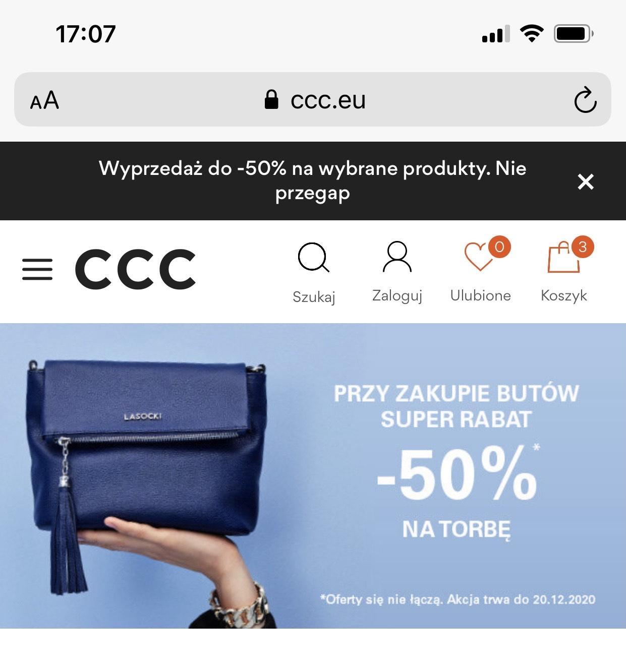 CCC do dowolnej pary butów torebka 50% taniej