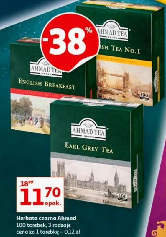Herbata czarna AHMAD TEA 100 torebek 3 rodzaje Hiper tanio w Auchan 17-20.12.2020