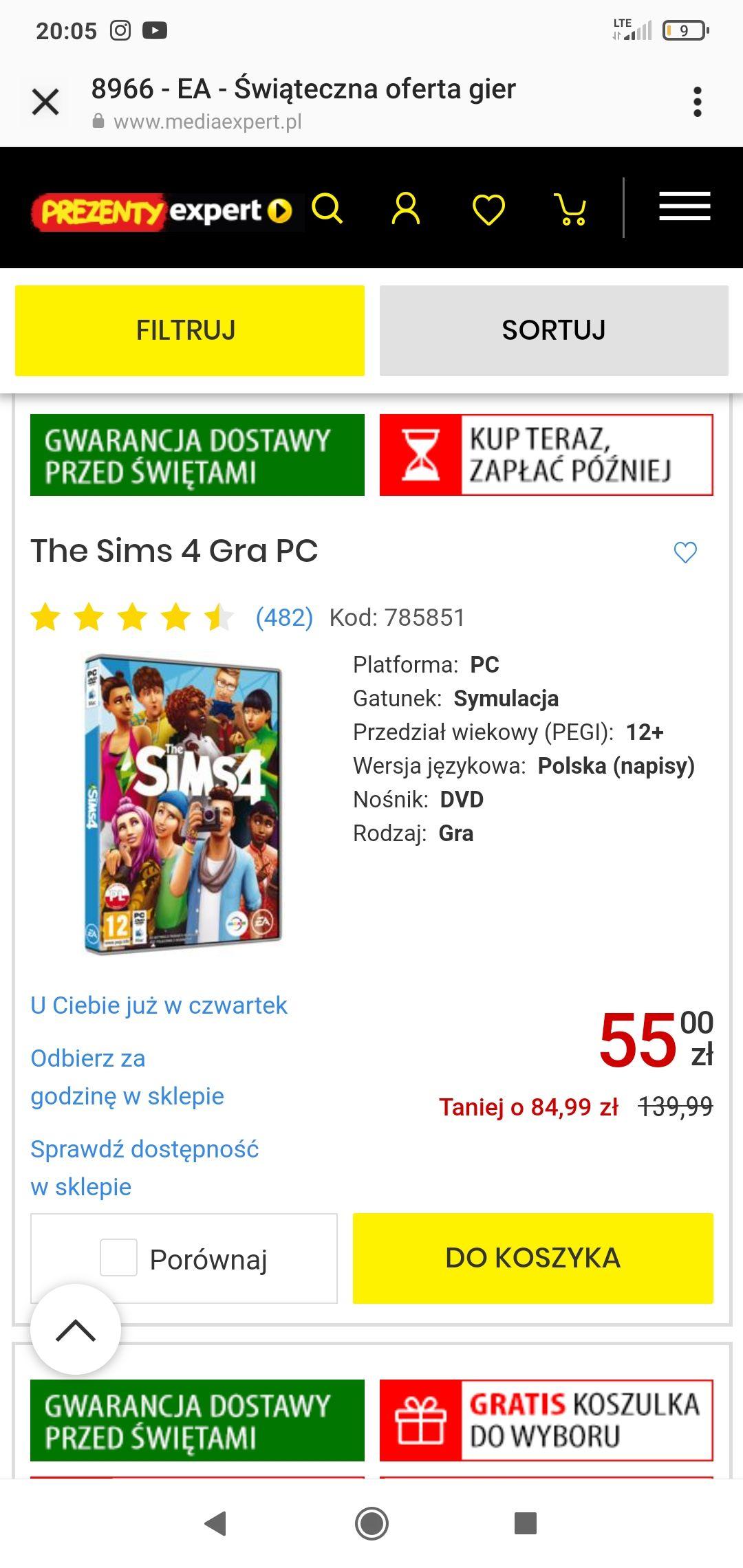 The Sims 4 podstawa i dodatki do 60% MediaExpert