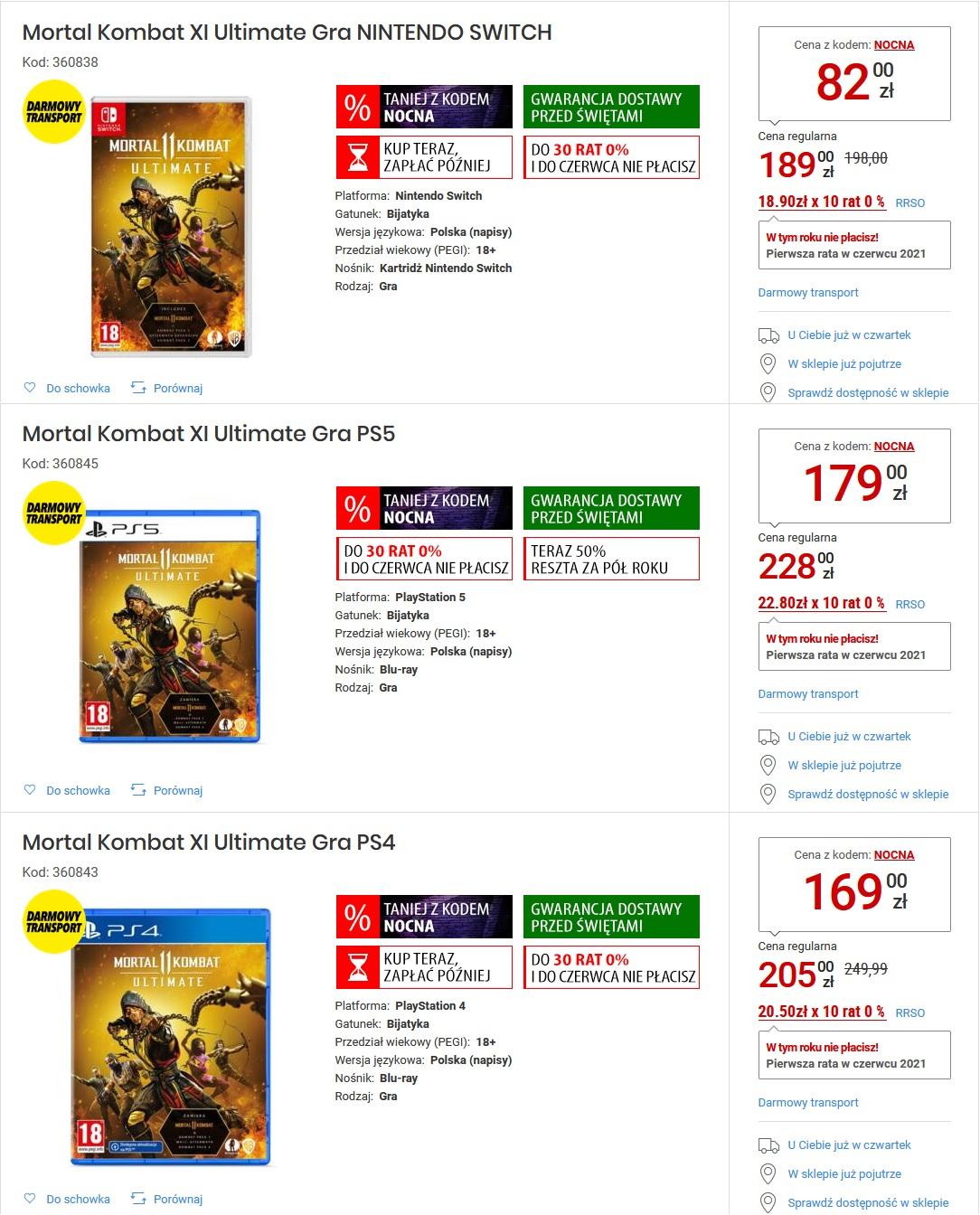 Mortal Kombat 11 Ultimate na Nintendo Switch (i na PS5/PS4) do godz. 11 @ Media Expert