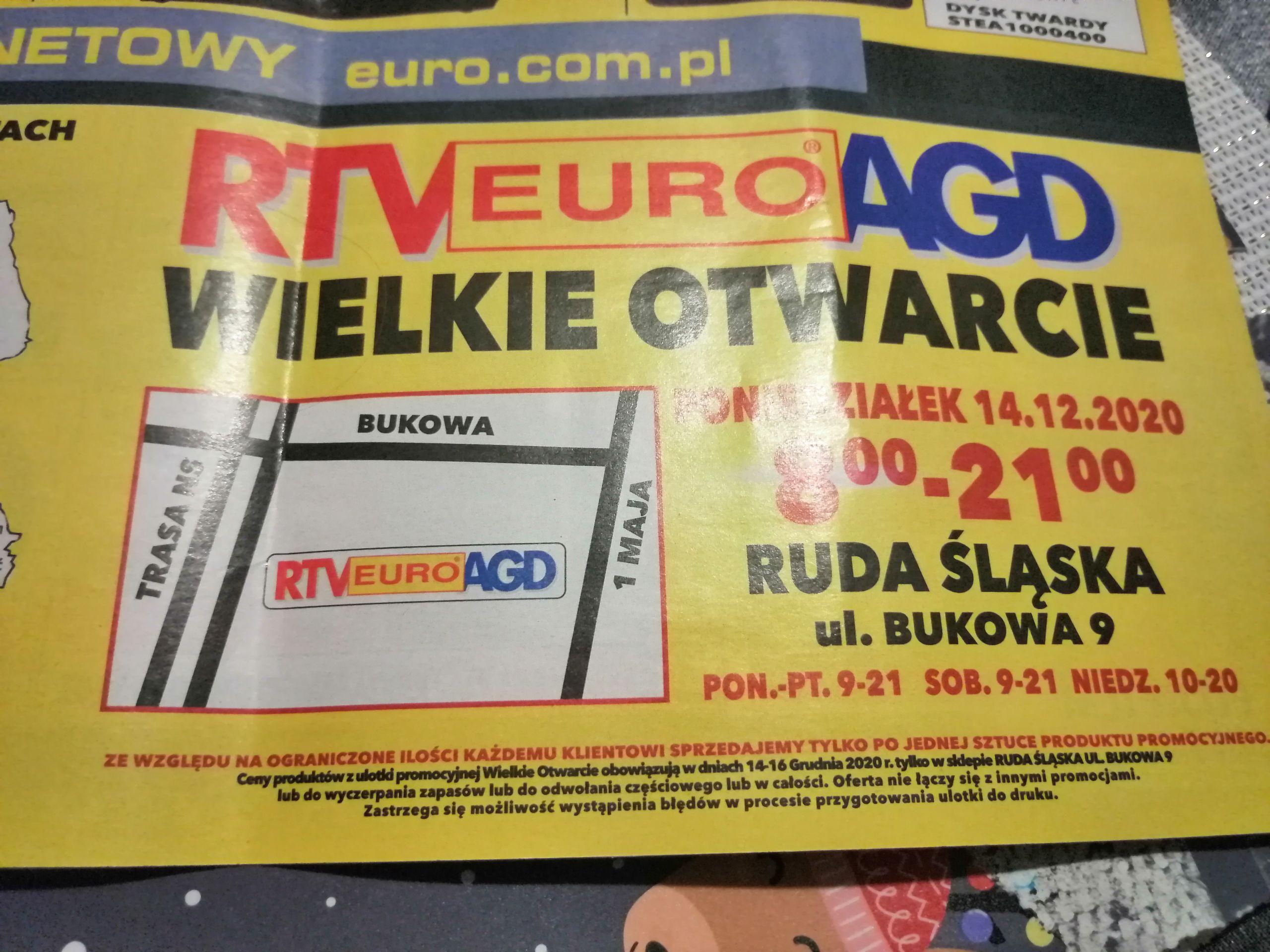 Rtv euro agd otwarcie Ruda Śląska ul. Bukowa 9 promocje do 16.12