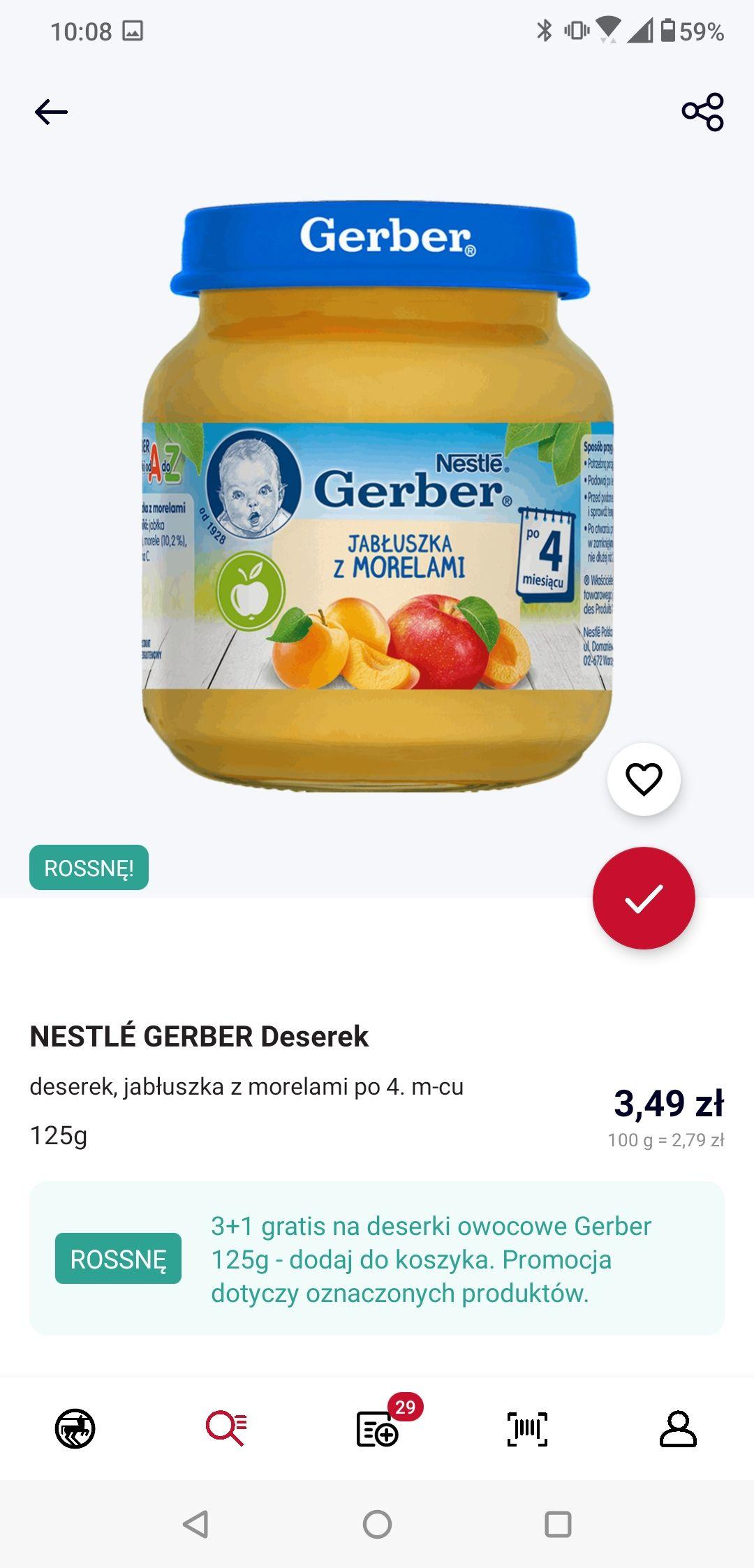Nestle Gerber obiadki i deserki 3+1 gratis