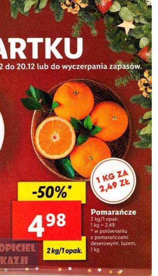 Pomarańcze 2 kg za 4,98 zł (2,49 zł/kg) w Lidlu
