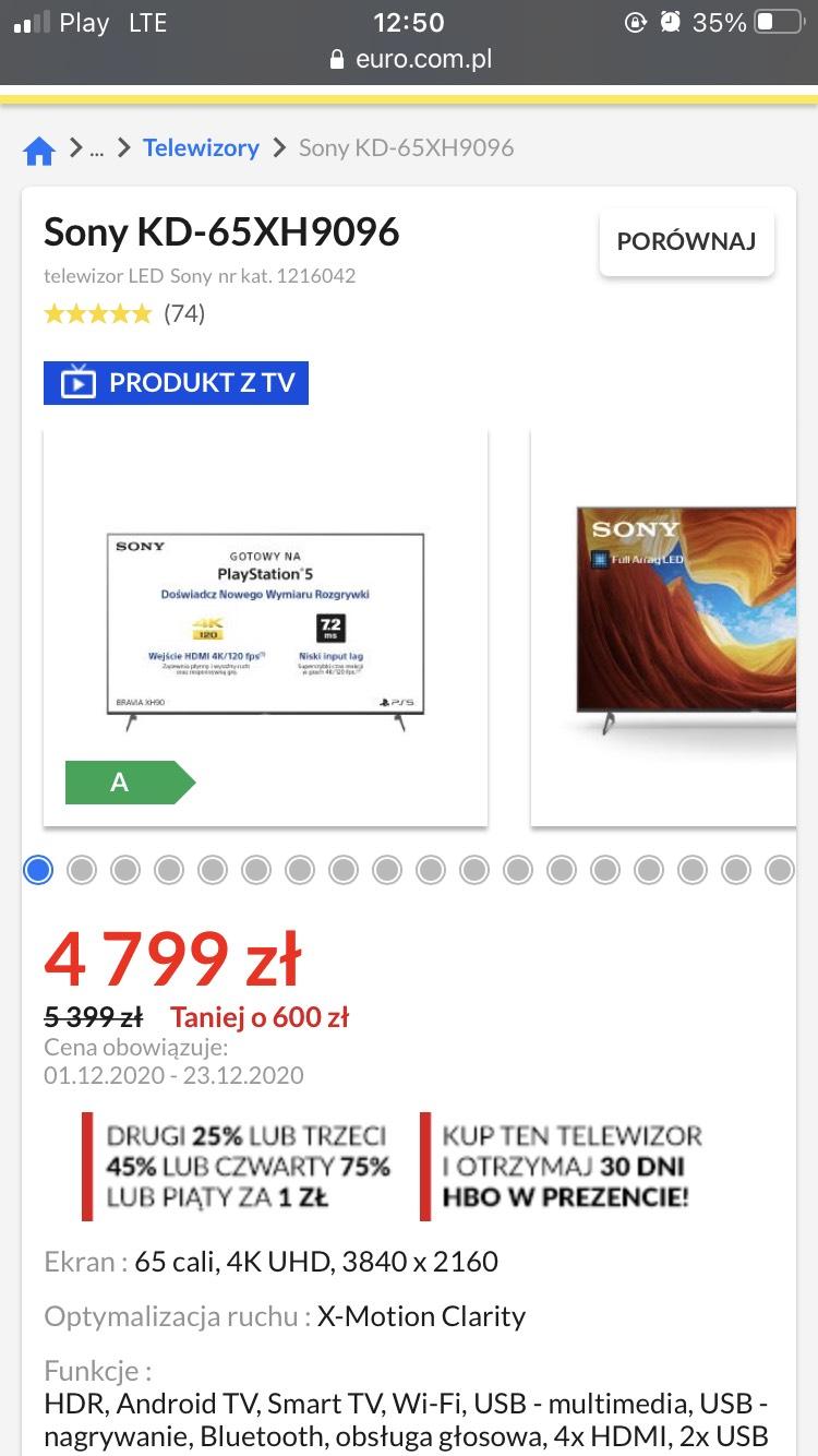 Sony KD-65XH9096 - dobra okazja na 65 cali z wyższej półki (stacjonarnie)