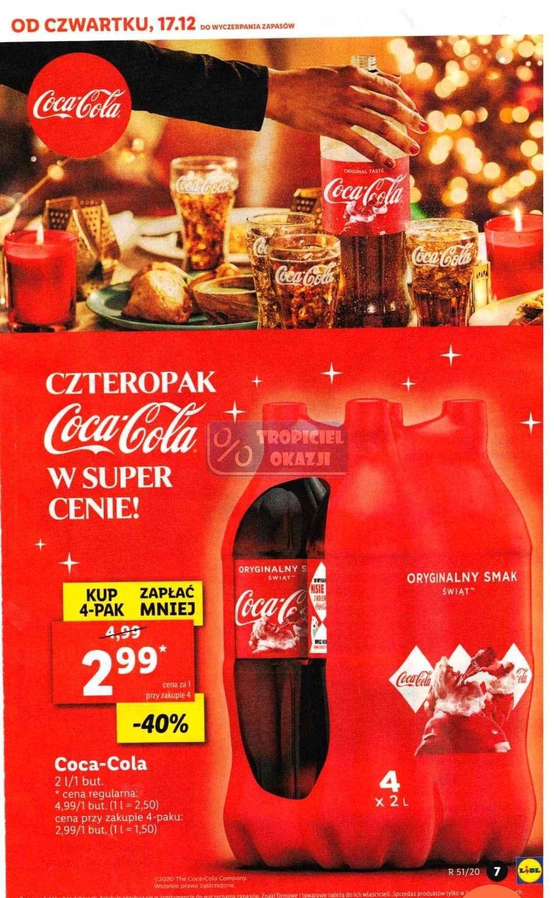 Coca cola 2 l za 2,99 zł przy zakupie 4 butelek w Lidlu