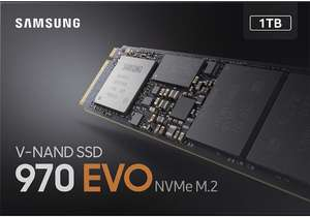 Samsung 970 EVO 1 TB NVMe M.2 Internal SSD. Amazon.