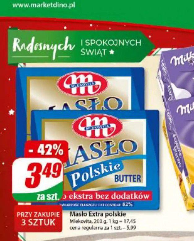 Masło Extra Polskie za 3.49 przy zakupie 3 Dino