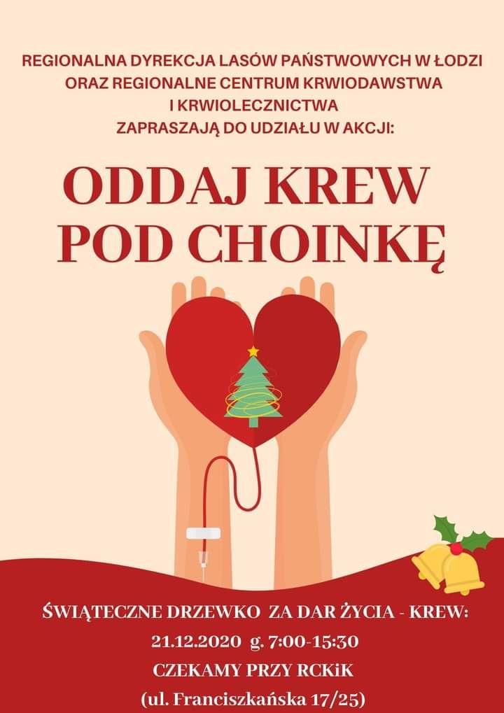 """""""Oddaj krew pod choinkę"""". Choinka za oddanie krwi. Łódź"""