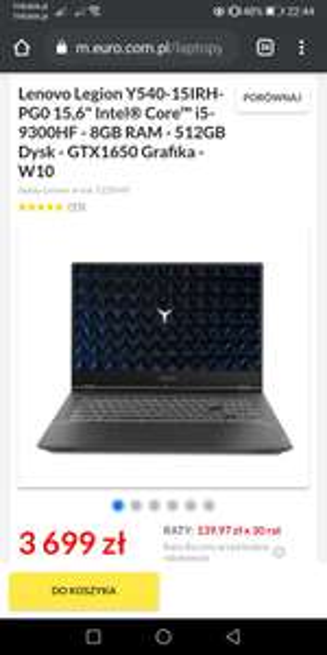 Lenovo Legion laptop gamingowy GTX1650