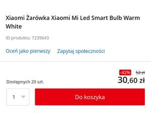 Xiaomi Mi Smart Led Bulb Warm White, w Empik 31zł link w opisie