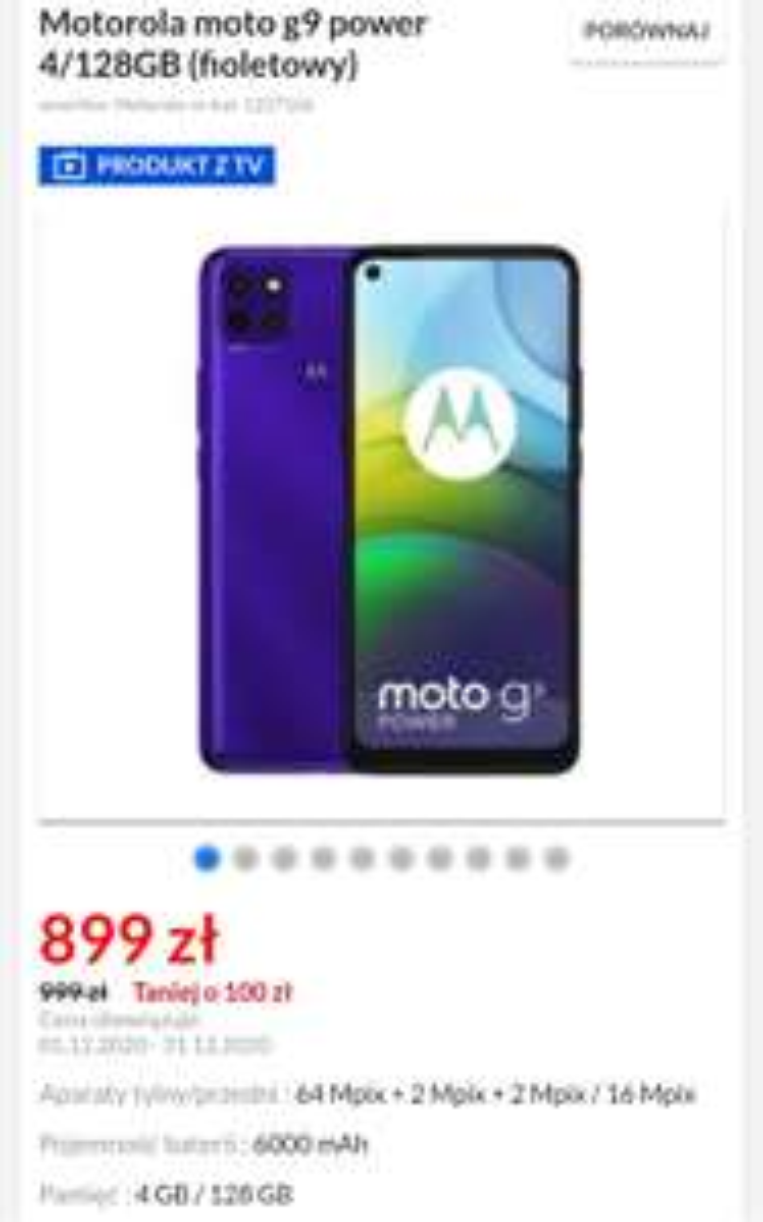 Motorola moto g9 power 4/128GB (fioletowy)
