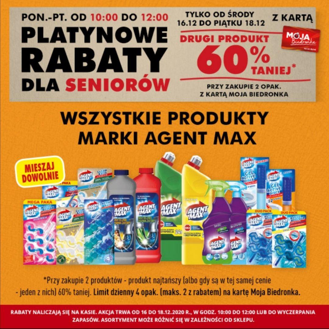 Platynowe rabaty dla seniorów. 2 sztuka -60% na produkty firmy Agent max z kartą Moja Biedronka