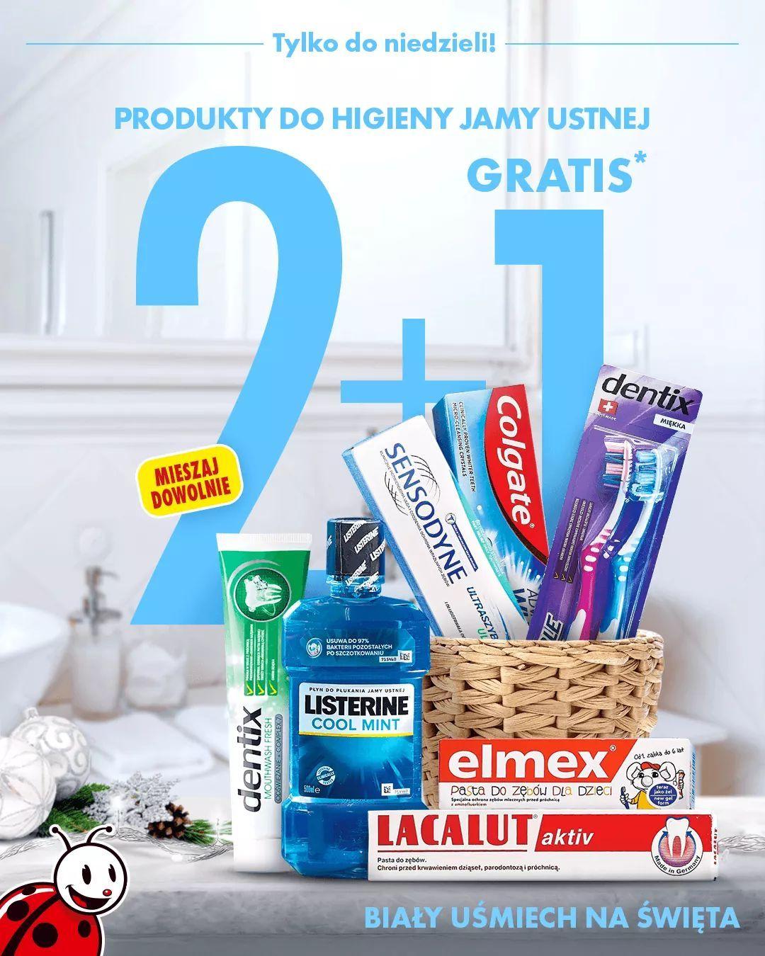 2+1 gratis na wszystkie produkty do higieny jamy ustnej. Biedronka