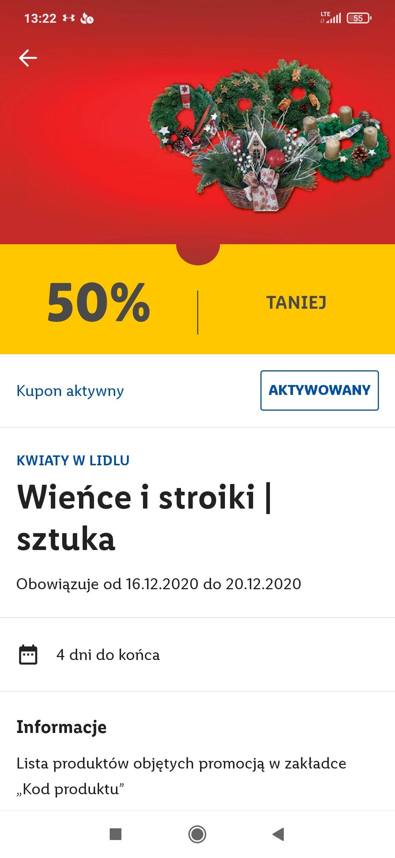 Wieńce i stroiki 50% taniej - kupon Lidl Plus