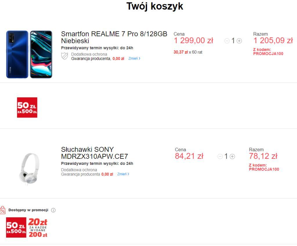 Realme 7 Pro 8/128GB + Słuchawki Sony MDRZX310APW.CE7 w neo24.pl