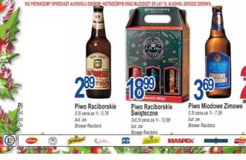 Piwo Raciborskie klasyczne, zielone w dobrej cenie w Leclerc