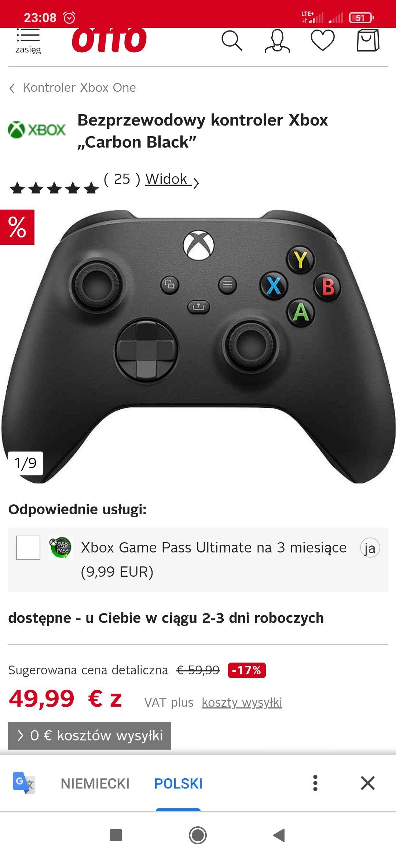 Kontroler Xbox z otto.de cena w euro 43, dodatkowo można dołożyć za 10 euro ultimate na 3 m