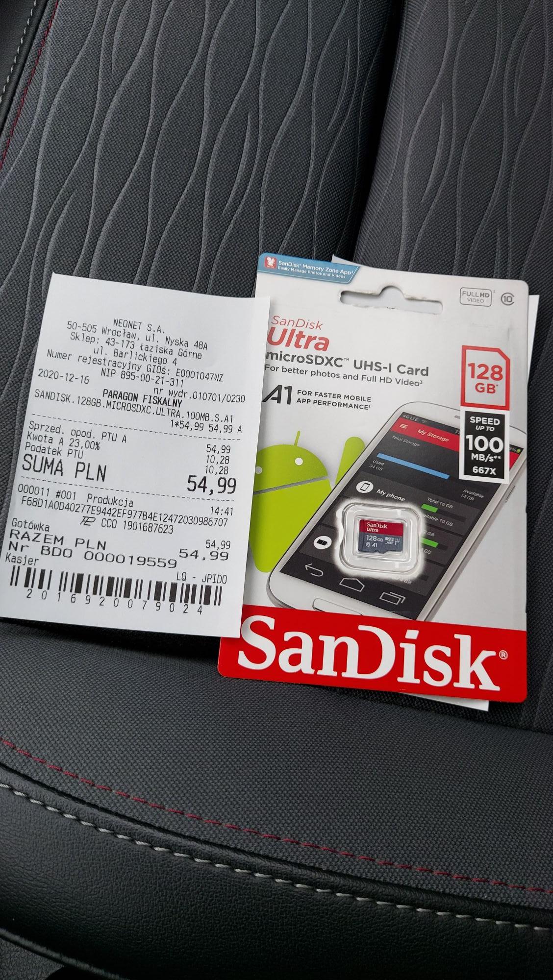 Karta pamięci sandisk 128 gb microSDXC ultra 100 mb/s