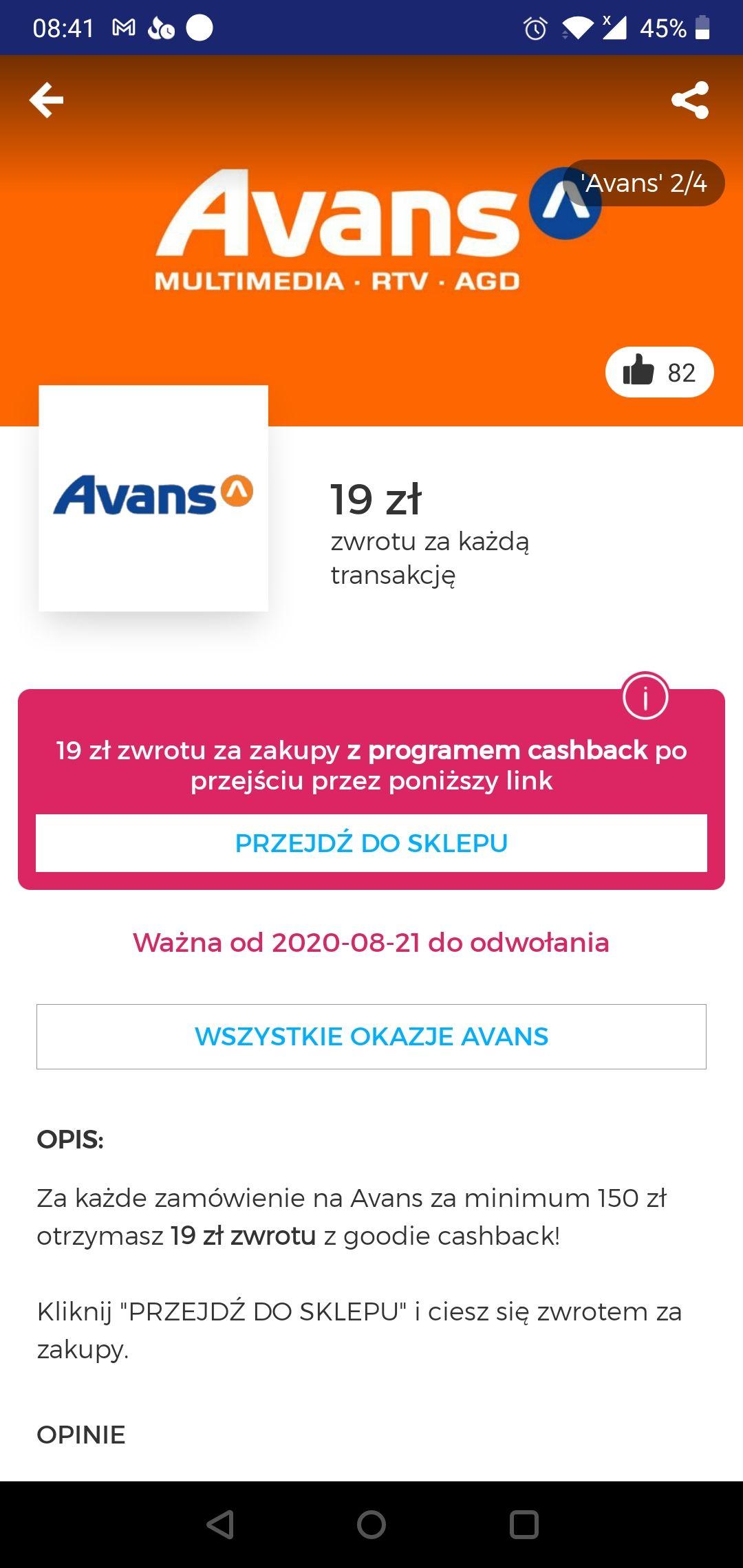 19 zł zwrotu z Goodie na Avans MWZ 150 zł dla wszystkich