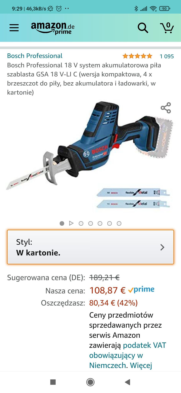 Bosch GSA 18 V-Li C Piła szablasta akumulatorowa Amazon.de 115,44€ możliwe 100.44