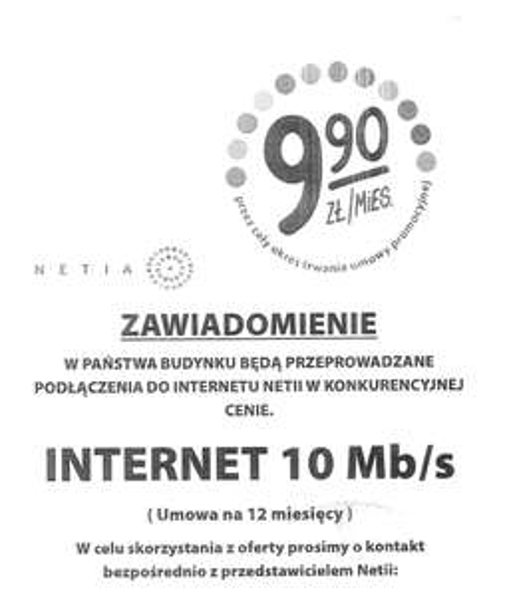 Netia- dostęp szerokopasmowy 10 Mb/s za 999 groszy miesięcznie