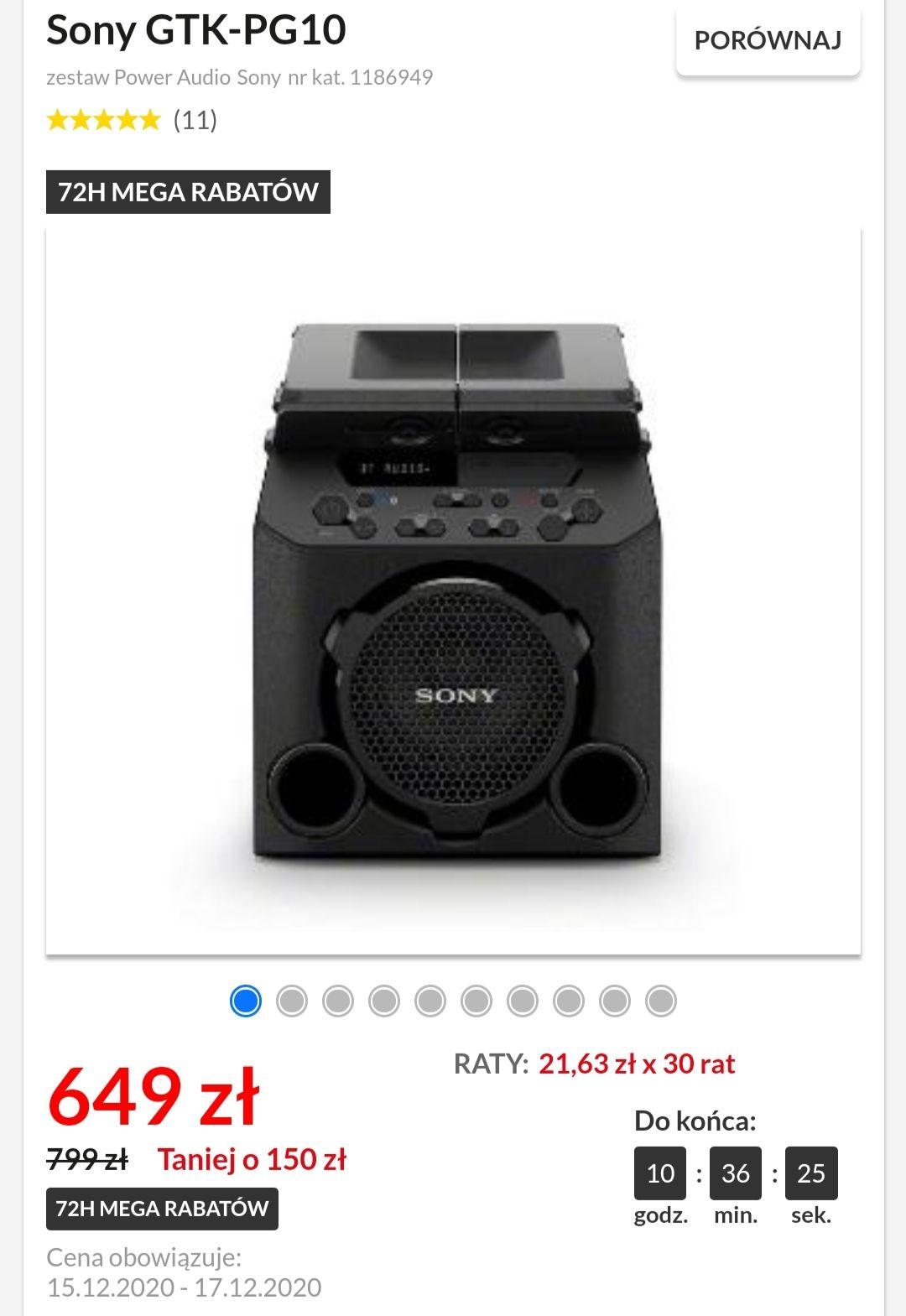 Głośnik Sony GTK-PG10