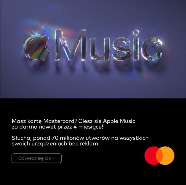 Apple Music do 4 miesięcy za darmo dla posiadaczy MasterCard