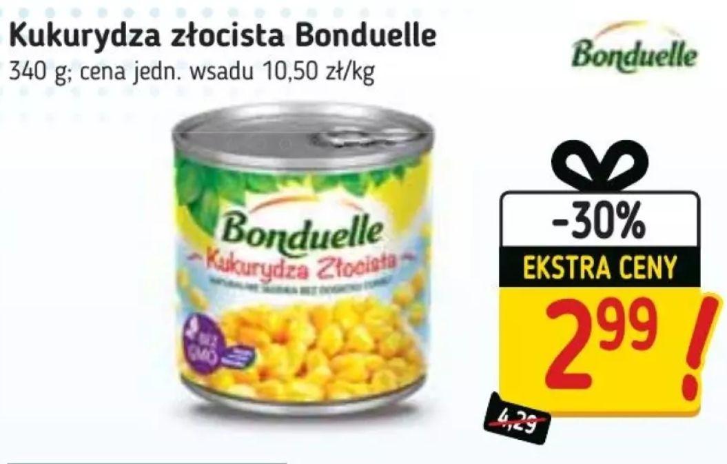 Bonduelle Kukurydza złocista 340g za 2.99zł i groszek 400g 2.50zł (cena przy zakupie dwóch) w Stokrotka