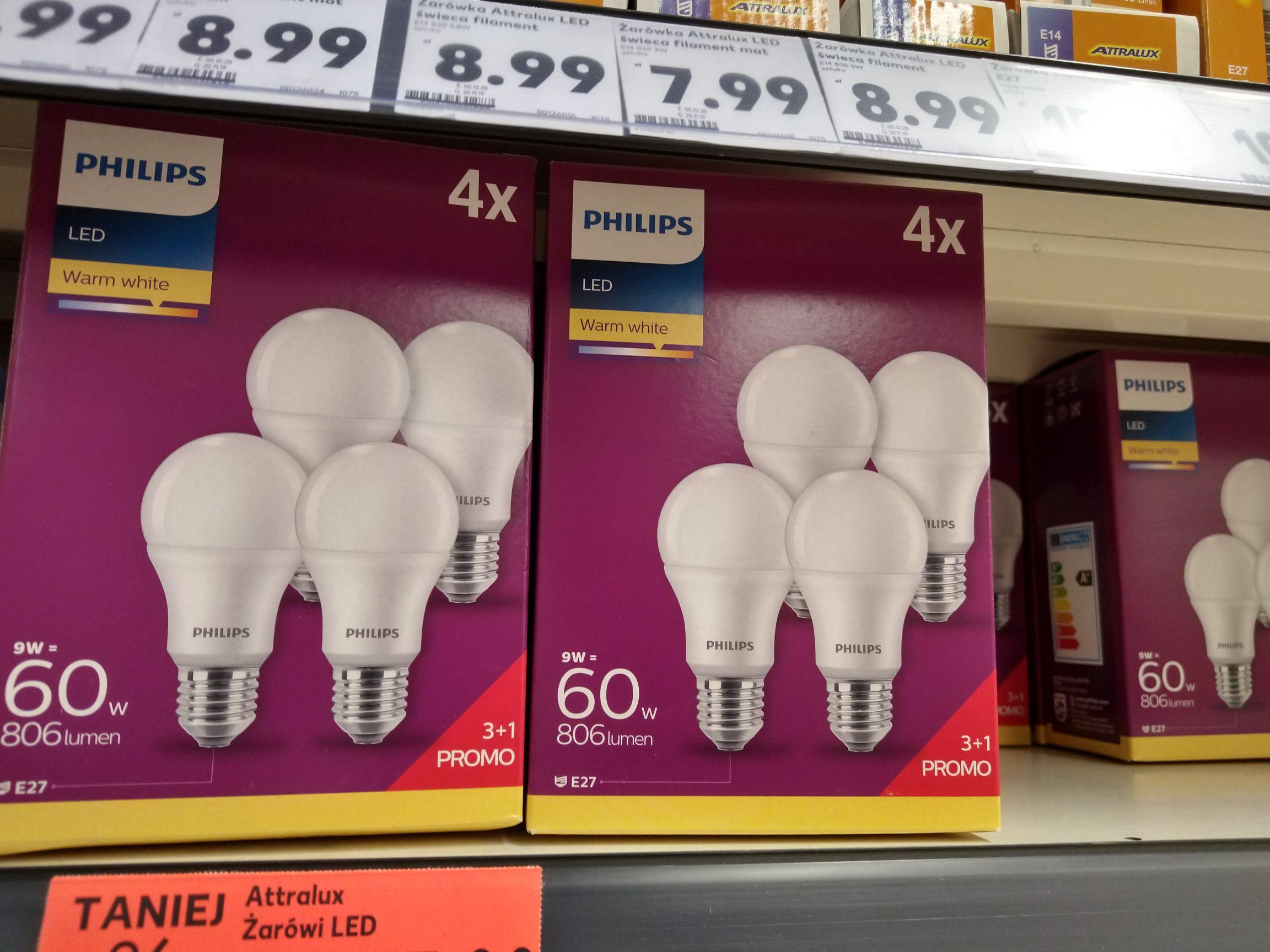 Żarówka LED Philips warm white. Zestaw czterech żarówek. Kaufland Stalowa