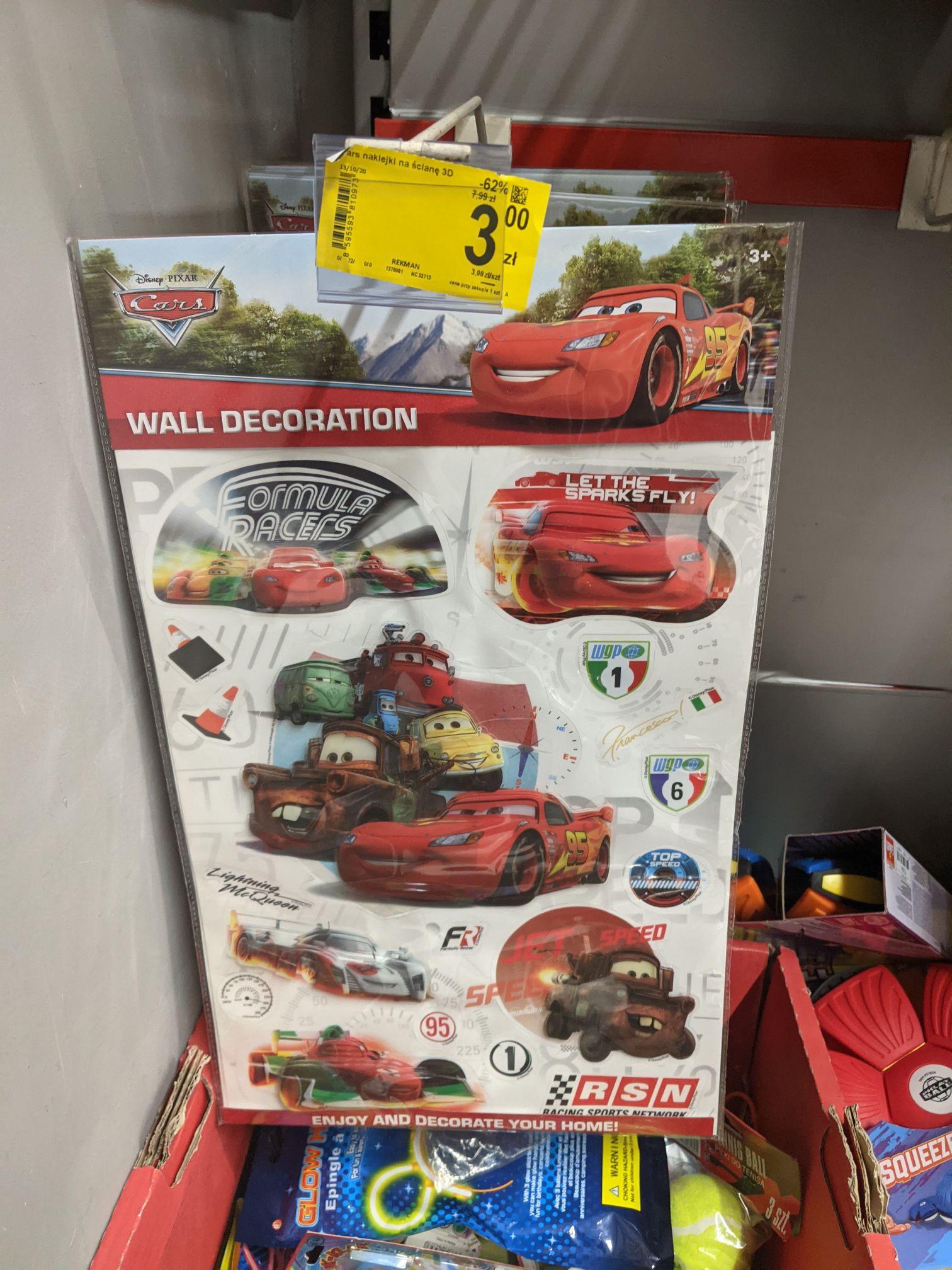 Disney Pixar Cars, naklejki na ścianę 3D dla dzieci. Carrefour Plejada Sosnowiec