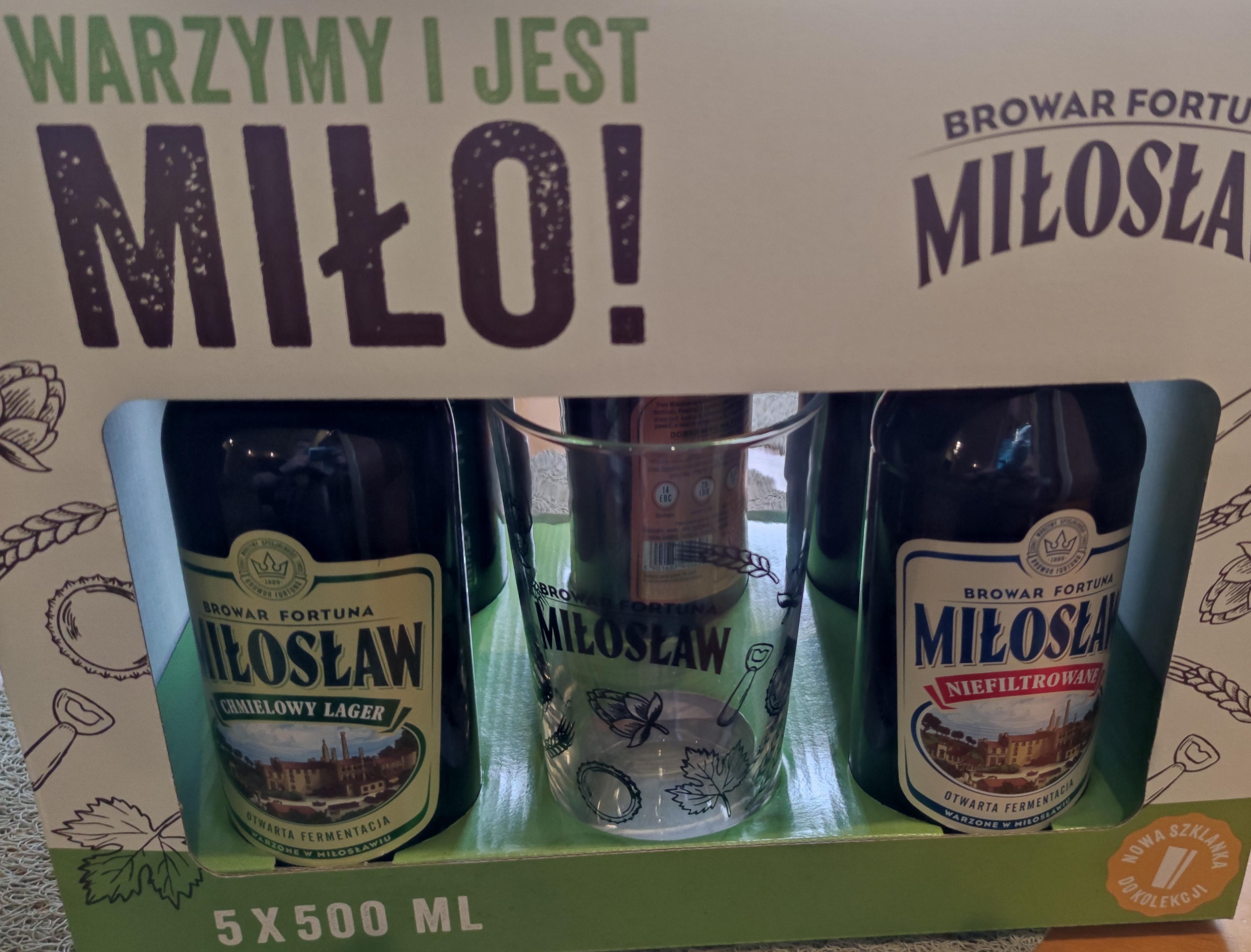Piwo Miłosław 5 szt. + Szklanka Auchan Tychy