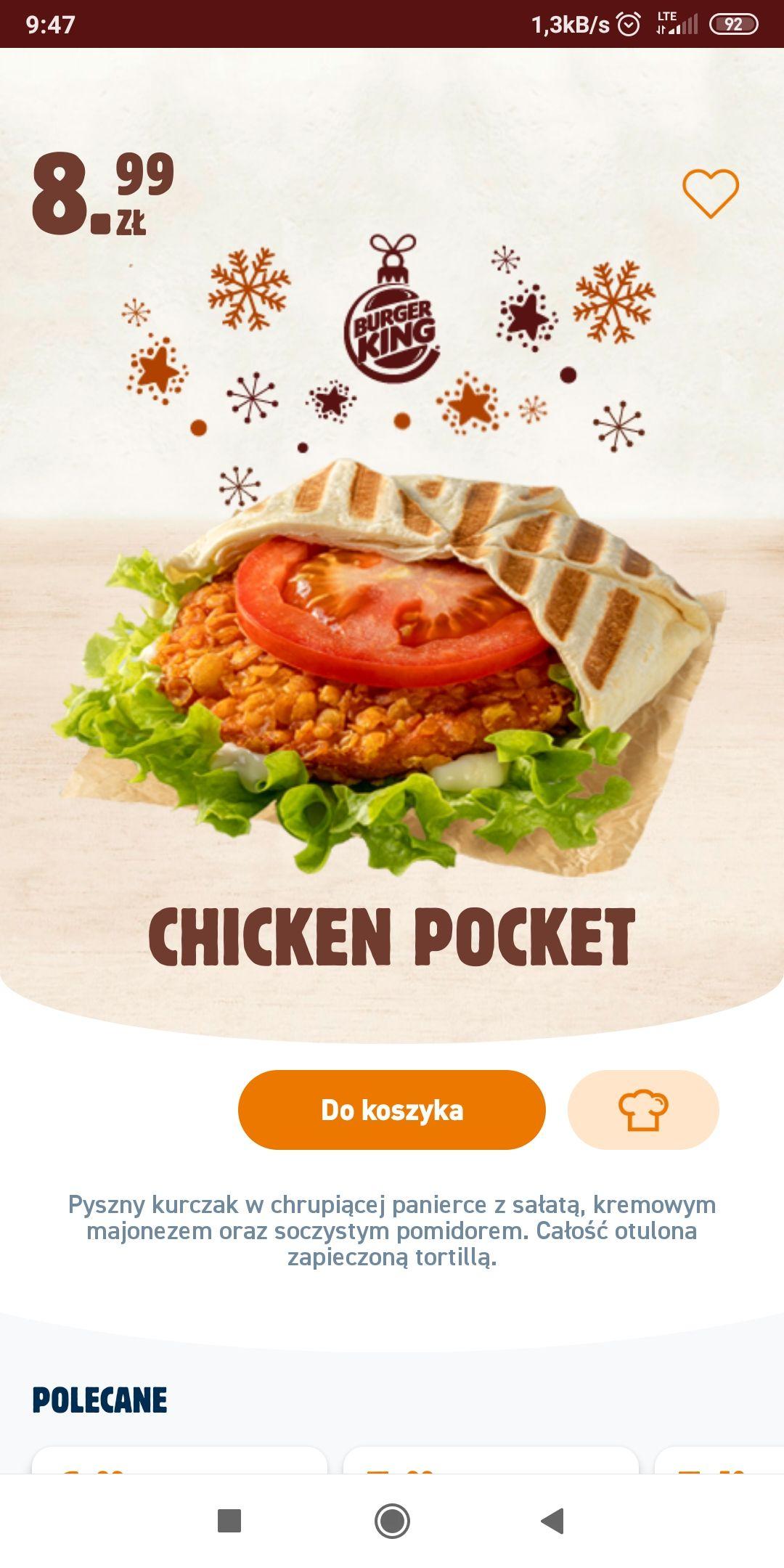 Kupon na Chicken Pocket w Burger King