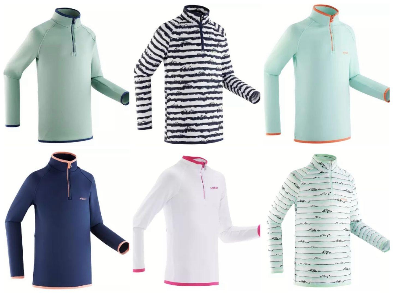 Koszulka narciarska Freshwarm 1/2 zip dla dzieci - Decathlon