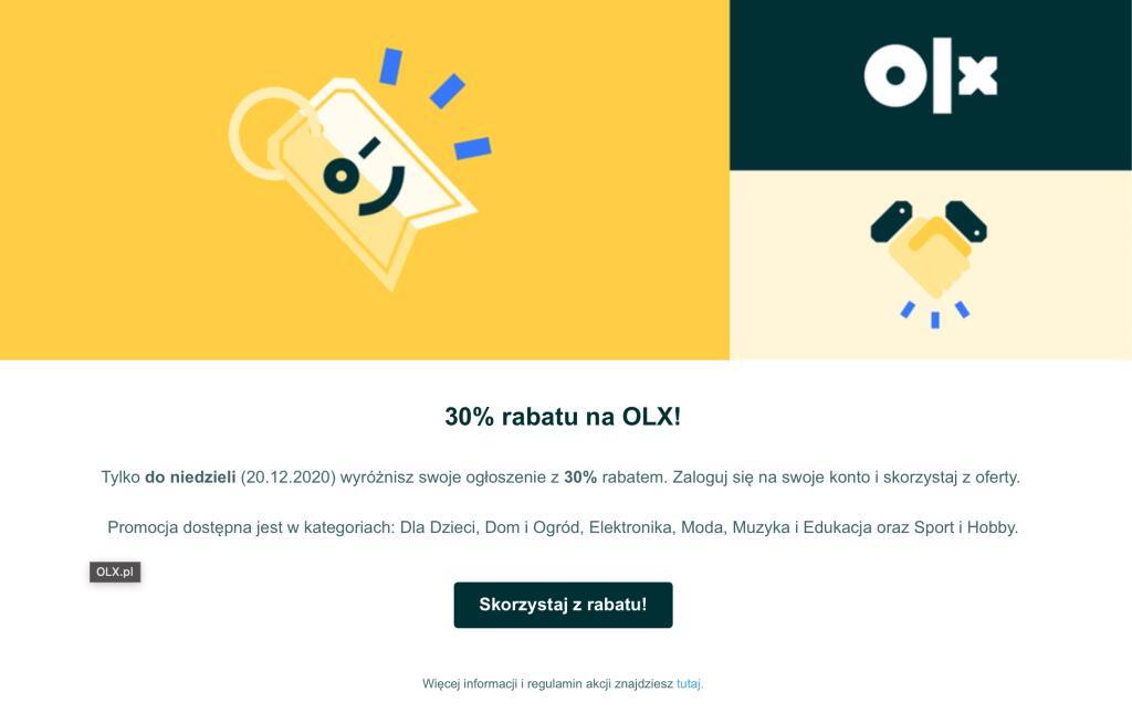 OLX rabat na wyróżnienie 30% wiem było więcej ale Zawsze COŚ