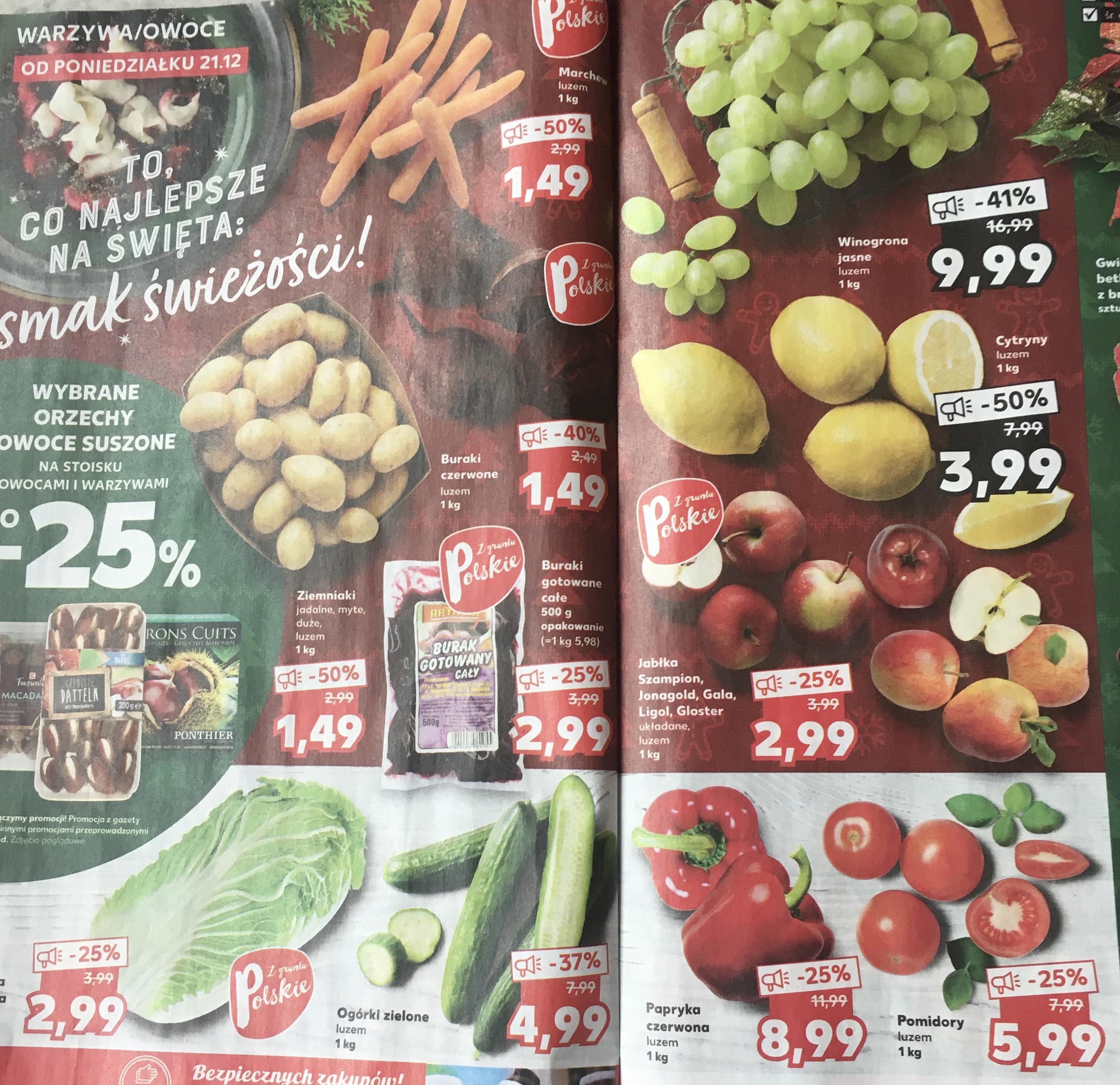 Zbiorcza owoce , warzywa w Kaufland taniej