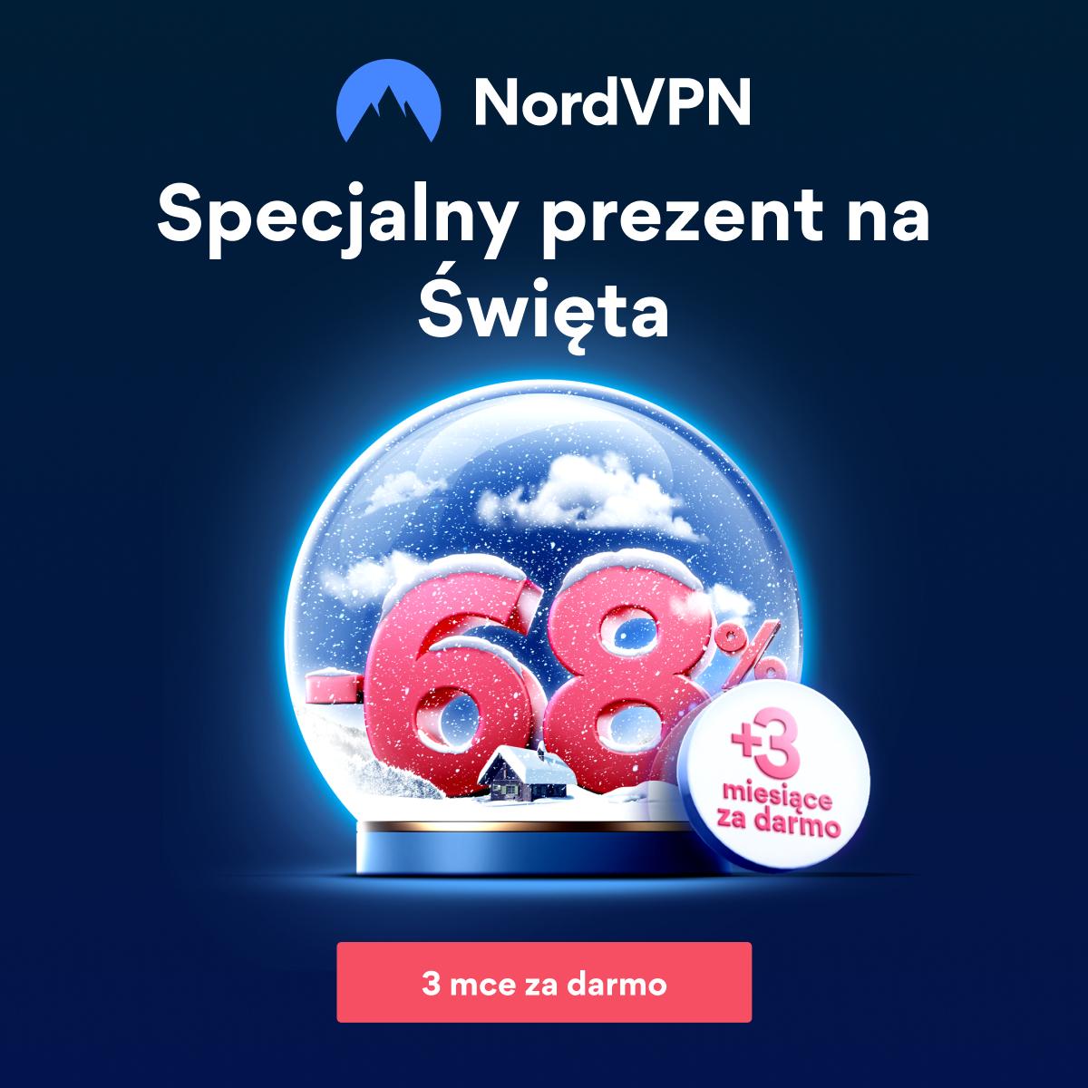 Oferta świąteczna NordVPN: 2-letni plan ze ZNIŻKĄ 68% + 3 miesiące GRATIS