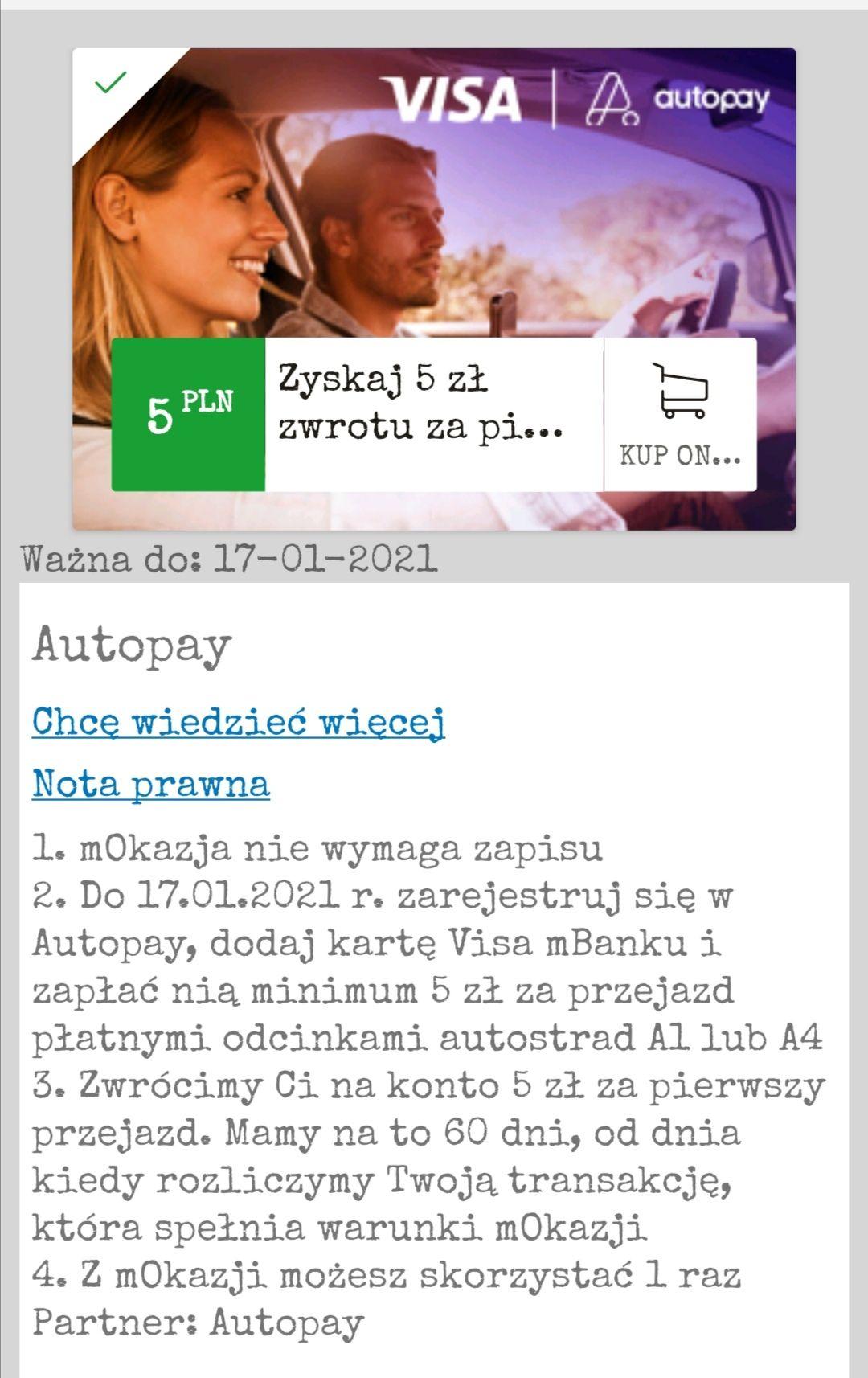 Autopay 5 PLN zwrotu z mOkazjami i Visa